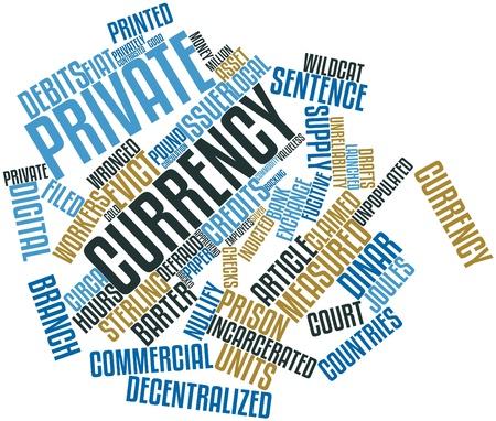 endlos: Abstrakte Wortwolke für Private Währung verwandte Tags und Begriffe Lizenzfreie Bilder