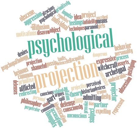 motivations: Abstract word cloud for Psychological projection with related tags and terms Stock Photo