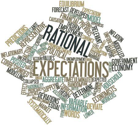 biased: Word cloud astratto per aspettative razionali con tag correlati e termini