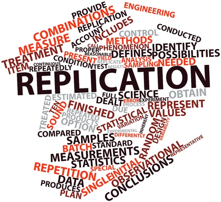 dealt: Abstract word cloud for Replication with related tags and terms Stock Photo