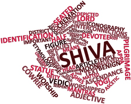 translates: Abstract word cloud for Shiva with related tags and terms Stock Photo