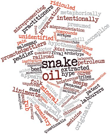 fining: Abstract word cloud for Snake oil with related tags and terms