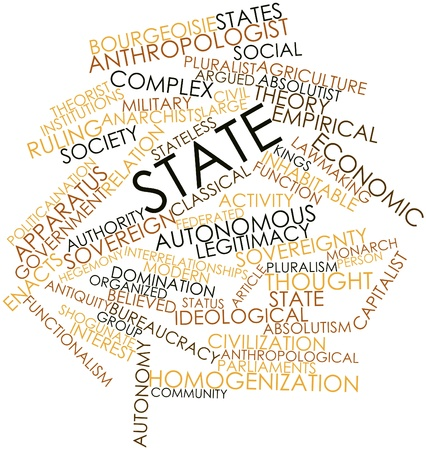 Abstract word cloud for State with related tags and terms Stock Photo - 16529900
