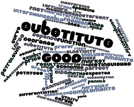 substitute: Abstract word cloud for Substitute good with related tags and terms