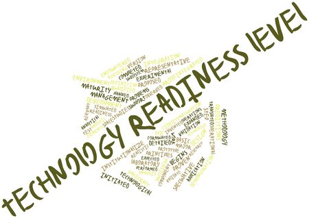 Abstract word cloud for Technology readiness level with related tags and terms
