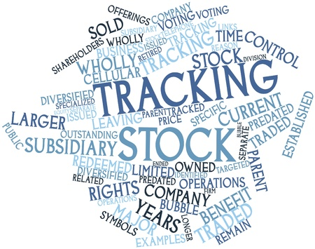 owned: Abstract word cloud for Tracking stock with related tags and terms Stock Photo
