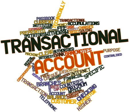 transactional: Abstract word cloud for Transactional account with related tags and terms