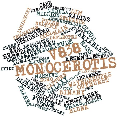wavelengths: Abstract word cloud for V838 Monocerotis with related tags and terms