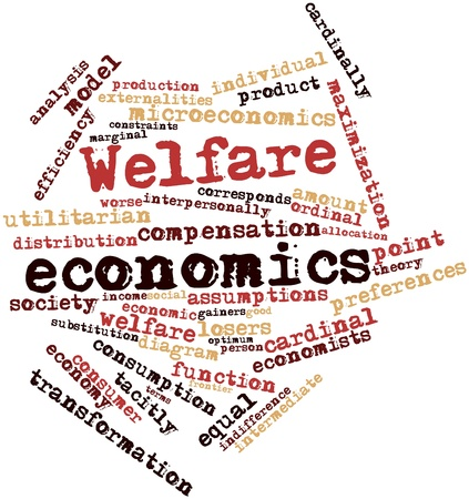 constraints: Abstract word cloud for Welfare economics with related tags and terms Stock Photo
