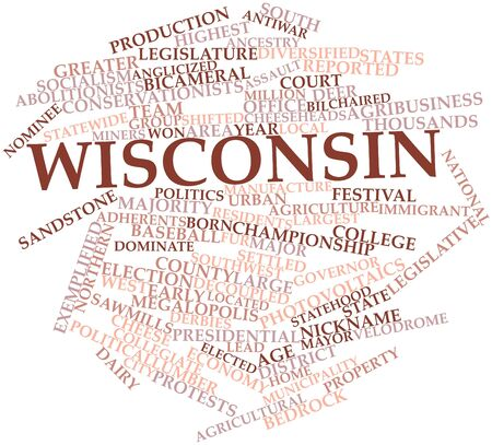 photovoltaics: Abstract word cloud for Wisconsin with related tags and terms