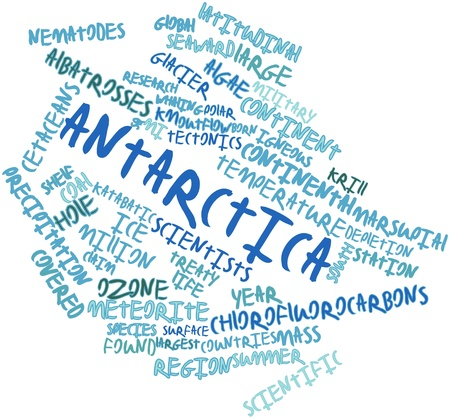 outflow: Abstract word cloud for Antarctica with related tags and terms