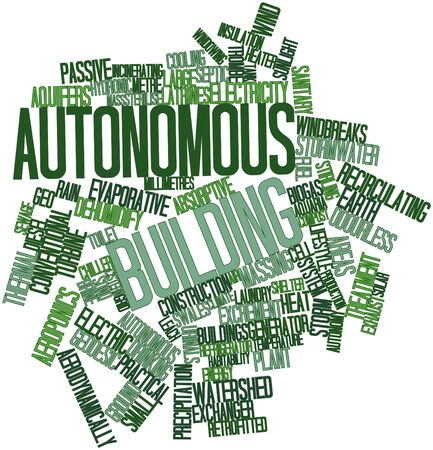 Abstract word cloud for Autonomous building with related tags and terms photo