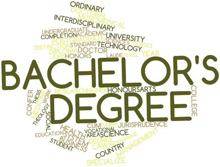 関連するタグと用語の学士の学位のための抽象的な単語雲