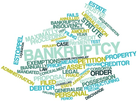 exemptions: Abstract word cloud for Bankruptcy with related tags and terms