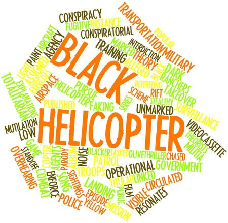 Abstract word cloud for Black helicopter with related tags and terms photo