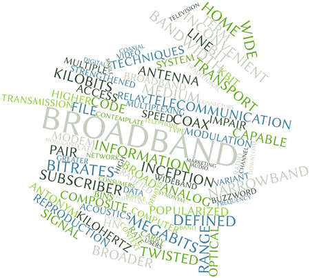 broadband: Abstract word cloud for Broadband with related tags and terms