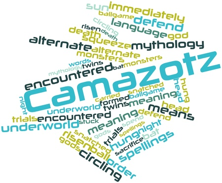 encountered: Abstract word cloud for Camazotz with related tags and terms Stock Photo