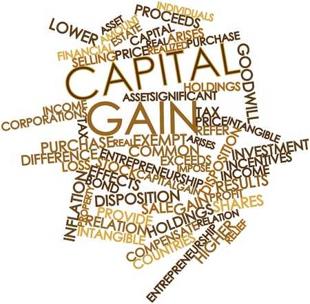 arises: Abstract word cloud for Capital gain with related tags and terms Stock Photo
