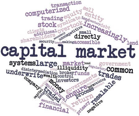 stock market return: Abstract word cloud for Capital market with related tags and terms Stock Photo