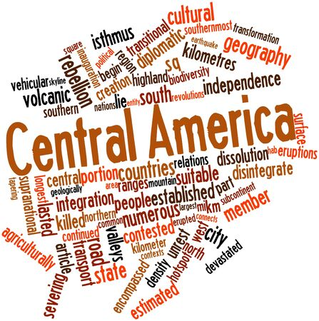northwestern: Abstract word cloud for Central America with related tags and terms Stock Photo