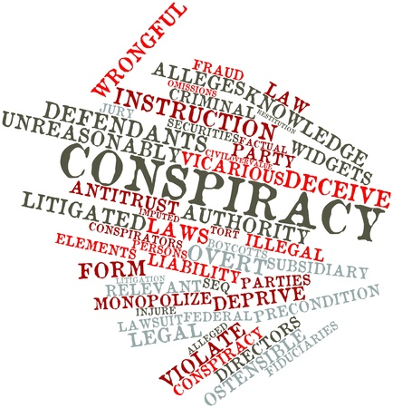 alleged: Abstract word cloud for Conspiracy with related tags and terms