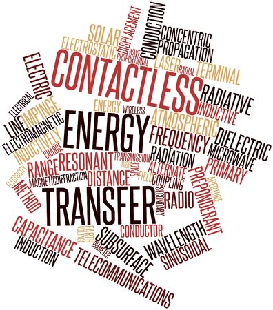 sinusoidal: Abstract word cloud for Contactless energy transfer with related tags and terms Stock Photo