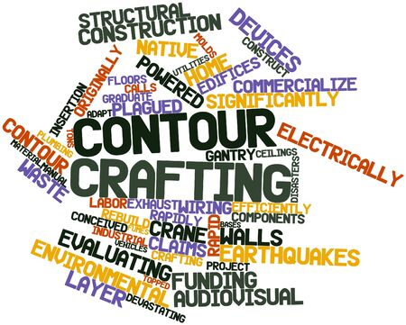 devastating: Abstract word cloud for Contour crafting with related tags and terms Stock Photo