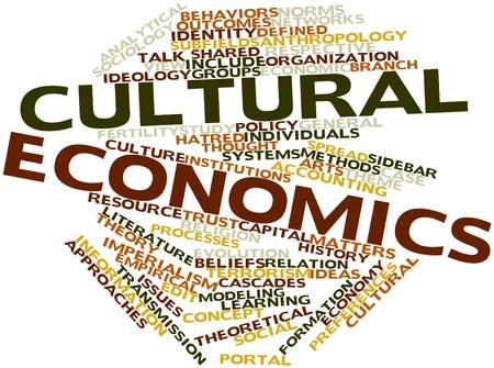 Nube palabra abstracta para la economía cultural con las etiquetas y términos relacionados