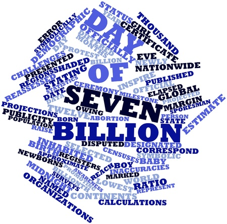 billion: Abstract word cloud for Day of Seven Billion with related tags and terms Stock Photo