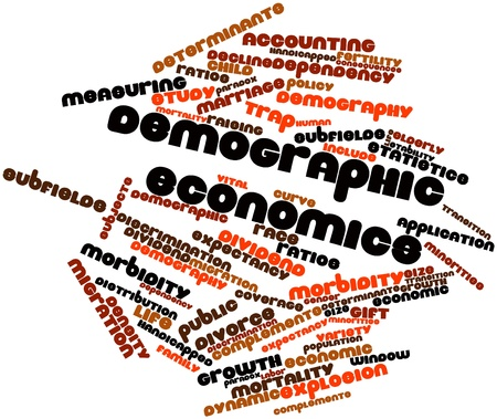 data distribution: Abstract word cloud for Demographic economics with related tags and terms Stock Photo