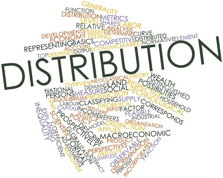 corresponds: Abstract word cloud for Distribution with related tags and terms Stock Photo