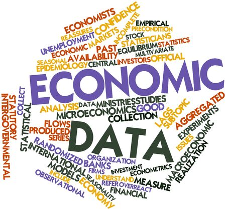 Abstract word cloud for Economic data with related tags and terms Stock Photo