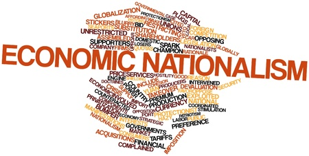 deemed: Abstract word cloud for Economic nationalism with related tags and terms Stock Photo