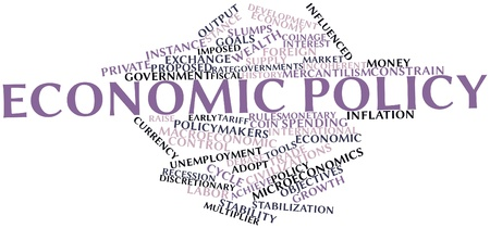 intervention: Abstract word cloud for Economic policy with related tags and terms Stock Photo