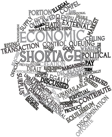 reaches: Abstract word cloud for Economic shortage with related tags and terms