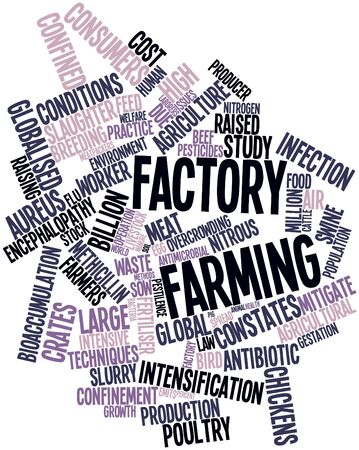 slurry: Abstract word cloud for Factory farming with related tags and terms