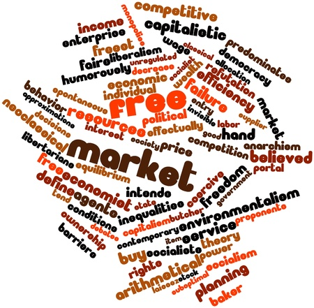 monopolies: Abstract word cloud for Free market with related tags and terms