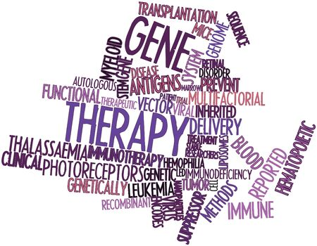 encodes: Abstract word cloud for Gene therapy with related tags and terms Stock Photo
