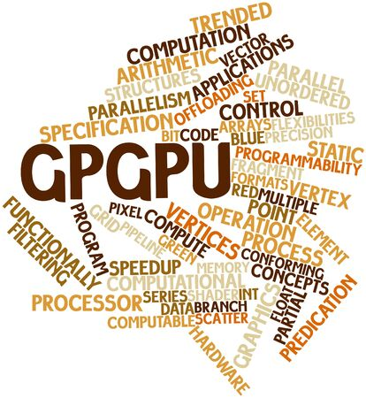 parallelism: Abstract word cloud for GPGPU with related tags and terms Stock Photo