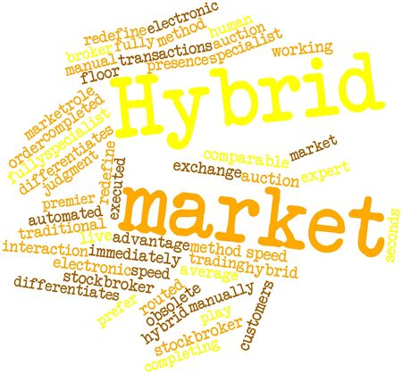comparable: Abstract word cloud for Hybrid market with related tags and terms