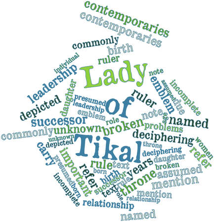 named person: Abstract word cloud for Lady of Tikal with related tags and terms Stock Photo