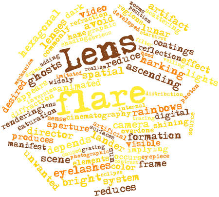 occurs: Abstract word cloud for Lens flare with related tags and terms Stock Photo