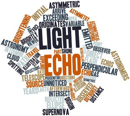 correspond: Abstract word cloud for Light echo with related tags and terms Stock Photo