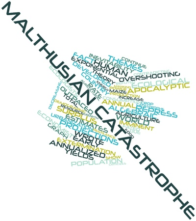 inevitability: Abstract word cloud for Malthusian catastrophe with related tags and terms
