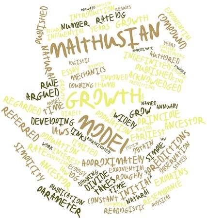 approximately: Abstract word cloud for Malthusian growth model with related tags and terms