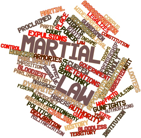 authorizing: Abstract word cloud for Martial law with related tags and terms