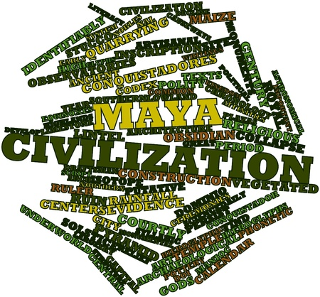 putative: Abstract word cloud for Maya civilization with related tags and terms