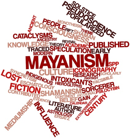 monotheism: Abstract word cloud for Mayanism with related tags and terms Stock Photo