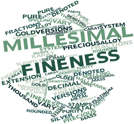 denoted: Abstract word cloud for Millesimal fineness with related tags and terms Stock Photo