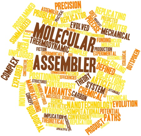 compiler: Abstract word cloud for Molecular assembler with related tags and terms Stock Photo